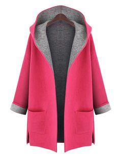 Shop Coats & Jackets - Casual Pockets H-line 3/4 Sleeve Plain Plus Size Coat online. Discover unique designers fashion at PopJuLia.com.