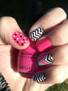 By Debra Frye-Pastrana. Seen this in Nailed It magazine and decided to try the look using only sinful colors nail polishes and Seche Vite bottom and top coat. I used Sinful colors Black on Black, cream pink, cool grey, snow me white. #mynailart #sinfulcolors #sechevite  @BLOOM.COM