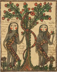 Adam and Eve attributed to The Sussel-Washington Artist, 1775c . * https://www.incollect.com/articles/drawn-with-spirit-pennsylvania-german-fraktur-from-the-joan-and-victor-johnson-collection