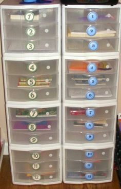 Differentiated work boxes for fast finishers. Secondary-too many kids to individualize this work, use 10 drawers, 3-6 colored folders each drawer. Each kid gets a number and a color. Completely different work between folders so that accommodations aren't obvious.
