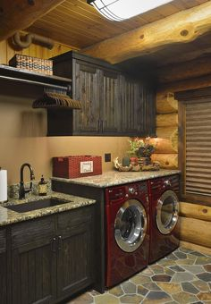 Fish Lake Cabin - rustic - laundry room - minneapolis - Lake Country Builders this whole design and color scheme in love with Rustic Laundry Rooms, Laundry Room Design, Laundry Decor, Log Cabin Bathrooms, Log Cabin Kitchens, Laundry Baskets, Country Builders, Lake Cabins, Mountain Cabins