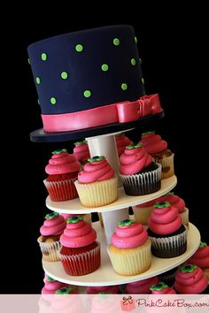 LOVE this cak and cupcake tower!! The colors are gorgeous :)
