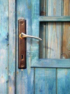 weathered door and handle.