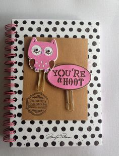 Pink Owl/ You're a Hoot/Paper Clips/ Planner Clips/ Pink/ Brown/Glam Planner Addict / Book Marks/ Gift Item/ Happy Planner/ Gift Item/