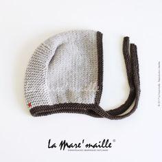 9004e516aa8 Bonnet béguin bébé laine marron tricoté main