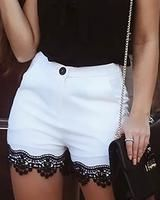 Lace Hem Buttoned Casual Shorts - Women Store Style:Fashion Pattern Type:Patchwork Material:Polyester Length:Regular Occasion:Casual Package Shorts Note: There might be difference according to manual measurement. Please SEE DETAILS Trend Fashion, Fashion Pants, Fashion Outfits, Womens Fashion, Style Fashion, Sporty Fashion, Cheap Fashion, Fashion Fashion, Winter Fashion