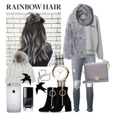 """""""Go matchy-matchy!"""" by universial-evil ❤ liked on Polyvore featuring 7 For All Mankind, MANGO, Sofiacashmere, FOSSIL, Off-White, Edge of Ember, Smythson, hairtrend and rainbowhair"""