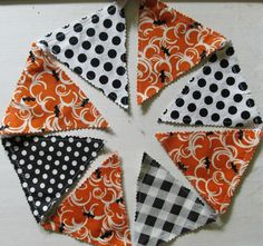 Halloween Fabric Bunting Banner Garland with Polka Dots, Gingham and Bats