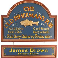 Personalized The Old Fisherman's Pub Custom Wood Sign