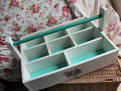 https://www.facebook.com/KiLoKreations  Very unusual, unique organiser caddy. [£25 ovno] Painted with Annie Sloan 'Old White' and 'Florence'. Rose decoupaged detailing added, then all protected by a coat of clear matt varnish. This is a very solid, well constructed unit. Ideal for kitchen, crafts or garden storage/organising 11cm Tall, 50cm wide and 46cm deep.