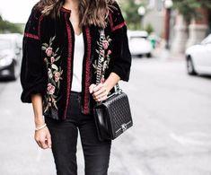 NWT ZARA Black Embroidered Floral Velvet Jacket Blazer Size M Ref.2903/242 #ZARA #Blazer #Casual