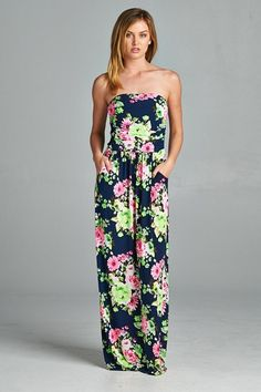 Another Day in Paradise Floral Maxi Dress - Navy
