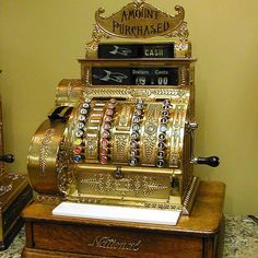"""""""This is one of my favorite items we've ever restored!! This is a Brass National Cash Register from the early 1900s! RMS Vintage #vintagecollectibles…"""""""