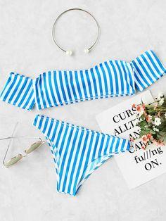 Shop Vertical Striped Off The Shoulder Bikini Set online. SheIn offers Vertical Striped Off The Shoulder Bikini Set & more to fit your fashionable needs.