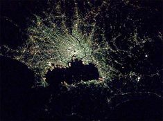 They look almost more like abstract art, geological formations or perhaps space phenomena, but these incredible images from the International Space Station by Don Petit of NASA depict some of the densest urban areas on Earth – such as Tokyo, pictured above and shot at night.