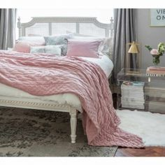 Buy the beautifully designed Provencal Low Footboard Rattan Bed, by The French Bedroom Company. Shop 24 hours a day for Effortless Luxury Online. Pink Bedspread, Velvet Bedspread, Pink Bedding, Comforter Sets, Luxury Bedding, Dusky Pink Bedroom, Luxury Bedspreads, Cushions To Make, White Cushions