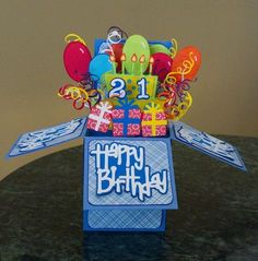 Croatian Crafter: Birthday Card in a Box Cricut Birthday Cards, Birthday Cards For Her, Birthday Box, Cricut Cards, Birthday Cakes, 3d Cards, Pop Up Cards, Fancy Fold Cards, Folded Cards
