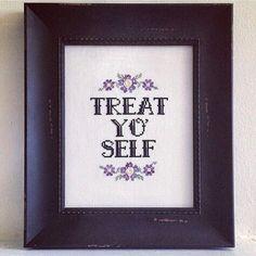 Treat Yo' Self Cross-Stitch Pattern by theNIFTYnerdette on Etsy