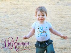 Initial Name and Polka Dots Baby Onesie by UnKaumanDesigns on Etsy, $12.59