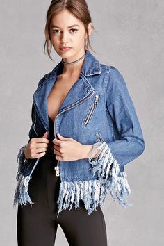 A denim Jacket featuring distressed fringe trim, a notched collar, an asymmetrical zip front, front mock zip pockets, and long sleeves. This is an independent brand and not a Forever 21 branded item.