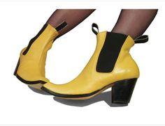 GAUCHO - Western Style Ankle boots in sunshine yellow #prestonzlydesign #pzdclassics #yellowboots #handmadeshoes