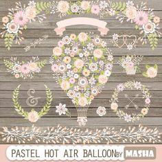 Hot air balloon clipart: Pastel Hot Air Balloon by MashaStudio