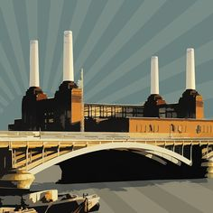 ARTFINDER: Retro POP Power - XLarge 30 inch Squa... by Czar Catstick - Pop Art Battersea Power Station. View from Chelsea Embankment  The composition is based on original photographs which are then art-worked, hand-painted, di...