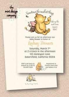 This Classic Winnie the Pooh invitation is perfect for a gender neutral baby shower. Order yours at: www.themintdesigncompany.com