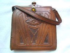 Rare signed Reedcraft Arts and Crafts era leather tooled floral jeweled purse handbag 1910's $160.