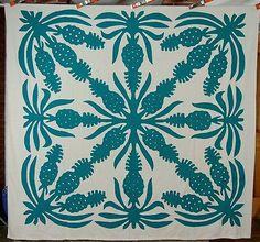 RARE Vintage 30's Pineapple Cutout Reverse Applique Hawaiian Antique Quilt Top | eBay