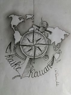 Dad Tattoos, Couple Tattoos, Forearm Tattoos, Body Art Tattoos, Tattoo Drawings, Small Tattoos, Sleeve Tattoos, Nautical Compass Tattoo, Compass Tattoo Design