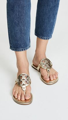 Tory Burch 'Miller' Gold Leather Flip Flop Sandals Size M Gold Flip Flops, Leather Flip Flops, Flip Flop Sandals, Tory Burch Sandals, Gold Sandals, Sandals Outfit, Autumn Fashion Casual, Miller Sandal, Metallic Leather