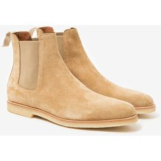 Common Projects Chelsea Boot in Sand Suede (€460) ❤ liked on Polyvore featuring shoes, boots, ankle booties, common projects, suede beatle boots, sand boots, suede ankle booties and suede booties
