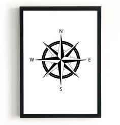 Compass illustration North East South West by BlacknBoo on Etsy