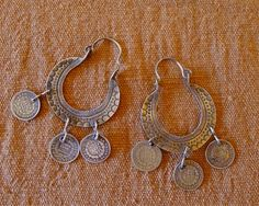 Vintage Silver Earrings Arracada Coins Authentic by LivingTextiles