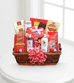 Be Mine Spa and Chocolates Valentine Basket - WebGift  Price: 99.90    Pamper the one you love the most with this basket full of Valentine delights! This gift combines romance and relaxation and provides soothing delights for your Sweetheart with English rose spa products, including lotion, bath gel and soap.