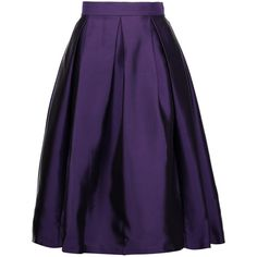 Raoul - Florence Pleated Silk-blend Satin-twill Skirt (£115) ❤ liked on Polyvore featuring skirts, dark purple, purple maxi skirt, long twill skirt, long polka dot skirt, long pleated skirt and purple pleated maxi skirt