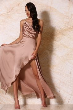 Make a style statement in the Glamorous Freida maxi dress. Cascading soft satin drapes and wraps around your body in a flattering fitted design, which feature Brown Maxi Dresses, Maxi Gowns, Satin Dresses, Maxi Wrap Dress, Draped Dress, Silk Dress, Sweet Sixteen Dresses, Wrap Around Dress, Dresses Online Australia