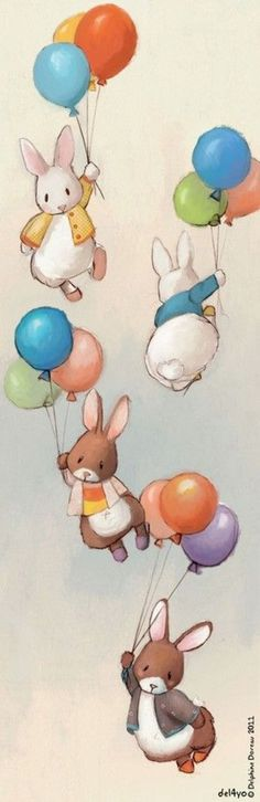 rabbits with balloons
