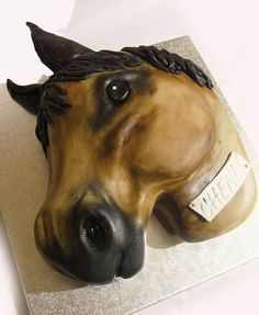 Horse head birthday cake, hand carved and hand painted! Hand Carved, Hand Painted, Horse Cake, Horse Head, Birthday Cake, Carving, Horses, Cakes, Painting
