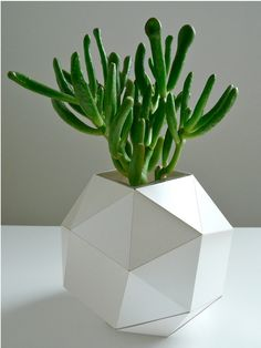 Paper Geometric Vase, Modern Table Top, Polyhedron Design