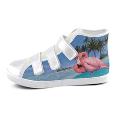 Flamingo and Palms Velcro High Top Canvas Kid's Shoes. FREE Shipping. #artsadd #sneakers #flamingos