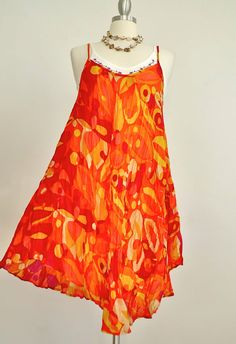 New - Asymmetric Extravagant soft Oranges Tangerine Floral Flower Sun Dress #Handmade #Sundress #SummerBeach