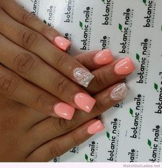 We love the single glitter nail on each hand :) Botanic nails light orange, white design Fancy Nails, Love Nails, How To Do Nails, Gorgeous Nails, Pretty Nails, Neon Coral Nails, Peach Nails, Uñas Color Coral, Colour