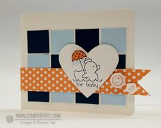 Card by Mary Fish.  Love that cool checkerboard background with the polka dots.  Black & white image with just a pop of color and a fabulously fresh color combo.