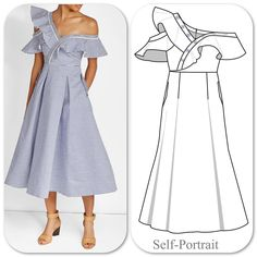 "Now THIS is what I call a ""summer dress"" could you imagine the scene you would cause wearing this dress, I mean, people would just have to acknowledge it, plain and simple. #fashion #sewing #illustration #technicaldrawing #flatdesigns #sketch #sketching #drawing"