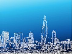 Detailed Linear Cityscape Graphics - http://www.dawnbrushes.com/detailed-linear-cityscape-graphics/
