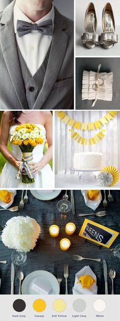 Grey and yellow wedding theme. Could substitute any bright color for the yellow and get the same effect.