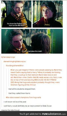 I always find this scene funny. When harry warns Cedric a out the dragons he is just goes straightforward and say the first tasks is dragons but Cedric give harry a vague clue