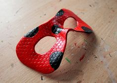 Honeycomb/Plain ladybird leather mask made-to-order by Masktastic